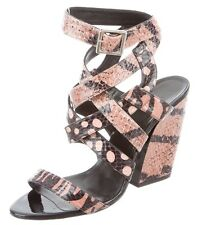 Auth PIERRE HARDY COUTUR SnakeSkin Black/Tan STRAPPY Slingback SHOE Sandal WEDGE