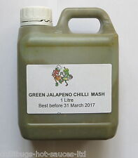 """GREEN JALAPENO CHILLI MASH WITH SEEDS"" 1 Litre - For Sauce Making"