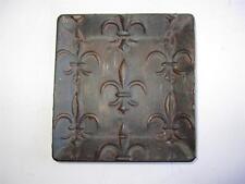 2 Metal fleur de lis Wall Plaque Old World Tuscan Decor 5.25  Tray brown garden