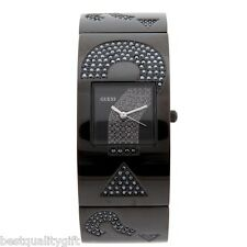 NEW-GUESS BLACK TONE S/STEEL+CRYSTAL PAVE LOGO BRACELET CUFF WATCH W18548L1+TAG