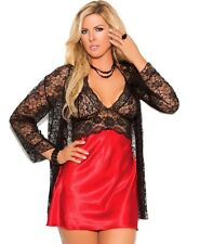 Babydoll Robe Lingerie Set 3X Women Plus Black Lace Red Satin Panty Long Sleeve