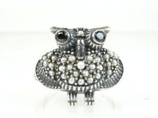 Unique Nautral Blue Sapphire and Seed Pearl Victorian Deco Sterling OWL Ring W03