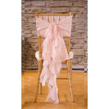 BLUSH PINK TAFFETA CURLY WILLOW WEDDING CHAIR SASH