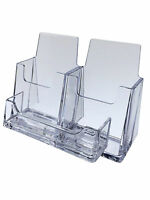 Lot of 6 Three Pocket Business Card Holder Display Stand Desk Top
