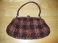 VERA BRADLEY Cute Ball Snap Woven Quilted Plum Suede Strap Purse Handbag