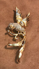 VINTAGE Signed DeNicola Collectible Rhinestone Love Bird Brooch Pin