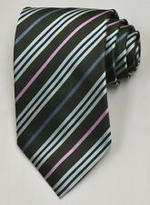 NEW Burberry Black/Green/Pink Mans 100% Silk Tie Authentic Italy Made 035015