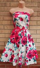 New look blanc rose vert floral bandeau ceinture rockabilly 50 robe patineuse 10 s