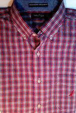 NAUTICA Shirt Medium Red Check Plaid Chambray Office Preppy NEW