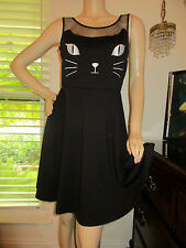 Hot Topic Kitty Cat skater dress Fit & Flare Sz XL  with Mesh Swiss dots