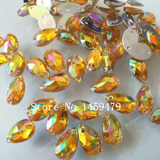 50 pcs x Sew On 7x12 mm Acrylic Rhinestones Yellow AB Color Teardrop Shape