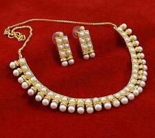 Traditional Gold Plated Ethnic Pearl Necklace Earrings Set New Women Jewelry