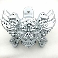 "Chrome Skull head horn cover For 92-16 Harley w/side mount ""cowbell"" all V-rod's"