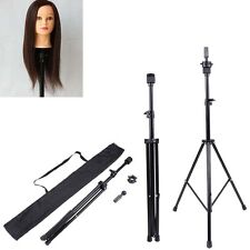 Adjustable Tripod Stand Hairdressing Training Mannequin Head Holder Metal Black