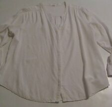 Old Navy LS Ivory White v-neck Front Button 100% Rayon Peasant Blouse Top XXL