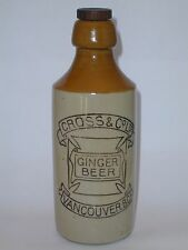 CROSS & CO. LTD STONEWARE GINGER BEER BOTTLE VANCOUVER B.C.