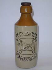 CROSS & CO. LTD STONEWARE GINGER BEER BOTTLE VANCOUVER B.C.