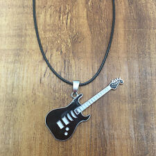 Unisex Fashion Stainless Steel Guitar Black Pendant Leather Necklace Chain Hot S