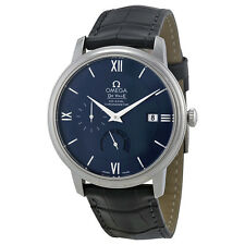Omega De Ville Prestige Blue Dial Black Leather Mens Watch 42413402103001