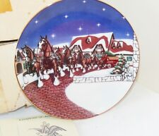 Vintage Budweiser Beer Grants Farm Holiday Plate 2702 Clydesdales Christmas New