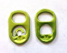 100 Green color, MEDIUM NO Logo, ALUMINUM Pop Top Pull & Pop Tabs - CLEAN