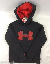 Under Armour Boys Sweater Hoodie Black Red Logo Cold Gear Storm YOUTH L
