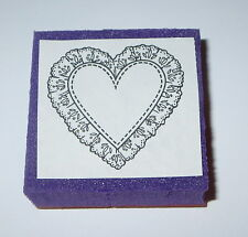 Doily Heart Rubber Stamp Foam Mounted Country Hearts Lace 1.5""