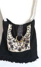 BAG BLACK WHITE +GOLD TOTE PURSE HANDMADE QUILTED COTTON WITH GOLD METAL RING
