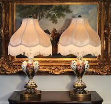 2 Antique Italian Capodimonte Hand Painted Porcelain Lamps w Lampshades/Finials