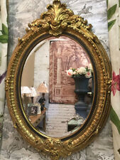 Hand Finished & Gilded Gold Leaf Antique French Style Bevelled Wall Mirror H92cm