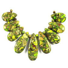 Lime Green Sea Sediment Jasper Necklace Pendant Bead Set Jewellery Making Supply