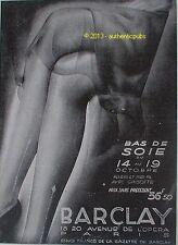 PUBLICITE BARCLAY BAS DE SOIE LINGERIE POUR FEMME ART DECO DE 1929 FRENCH AD PUB