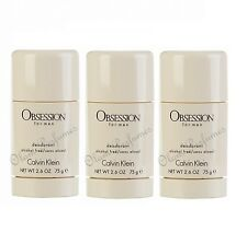 PACK OF 3 CALVIN KLEIN OBSESSION FOR MEN DEODORANT STICK 2.6oz 75g each * SAVE !