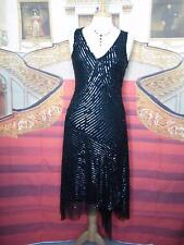 PHASE EIGHT Dress Size 8/10 Black Sequins Evening/Gatsby/Downton 20s Flapper