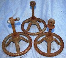 Vintage SET 5 CAST IRON SHUT-OFF VALVE WHEEL HANDLES Industrial Steampunk
