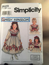 Simplicity 8828 Daisy Kingdom Size 3-6 Girls and 18 in Dolls Dress Pattern New