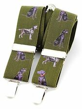 Black Labrador Braces GREEN Gundog Shooting  Trouser suspenders Gift Boxed NEW