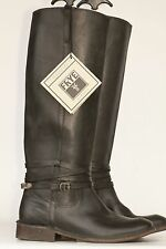 Tall Frye Shirley Riding Plate black leather riding boots 7 B NWOB