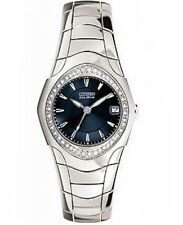 CITIZEN WOMENS $395 ECO-DRIVE SILVER DRESS WATCH, BLUE DIAL, CRYSTALS EW0141-55L