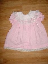 Vtg-Little Princess-Baby Girls-Reborn Doll Clothes-Pink White Lace Dress-24 mo