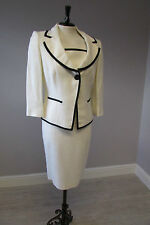 HOBBS CREAM FITTED LINED DRESS SUIT -  SIZE 12-  CAP SLEEVES - FULLY LINED