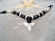 BRAND NEW UNISEX LUCKY SURFER SHARK TOOTH NECKLACE WITH BEADS / surf /n188jvi
