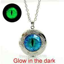 Gem Cat eye Art Picture Locket Necklace Glowing in the dark pendant Necklace