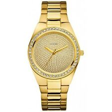 NEW WT GUESS PIXIE DUST GOLD SWAROVSKI CRYSTAL STUD LADY BRACELET WATCH U11055L1