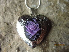 PURPLE/BLACK ROSE CAMEO SILVER PLATED HEART LOCKET - UNIQUE, HANDMADE