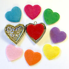 25 Diffuser Necklace Heart Refill Pad Aromatherapy Essential Oil Assorted Colors