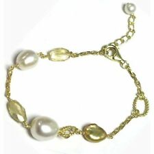 Freshwater Pearls Semi Precious Citrine Sterling Silver Gold Plated Bracelet