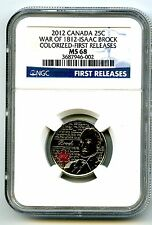 2012 CANADA WAR OF 1812 ISAAC BROCK COLOR QUARTER NGC MS68 FIRST RELEASES
