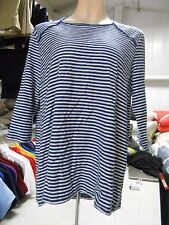 Who What Wear Women's 3/4 Sleeve Shirt, Small, Blue/White Stripe