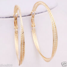 gorgeous 9k Yellow Gold Filled Elegant Ear Stud dangle hoop Earrings e527